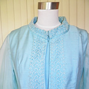 1960s Light Blue Silk Cocktail Dress w/Matching Vest