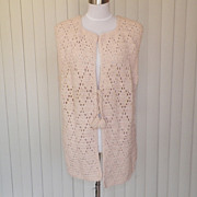 1960s / 1970s Ivory Hand Knitted Full Length Vest