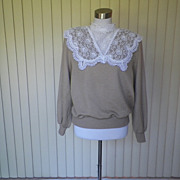 1980s Taupe  Victorian Style Sweater with Lace