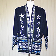 1970s Dark Navy Wrap Sweater - Ecuador