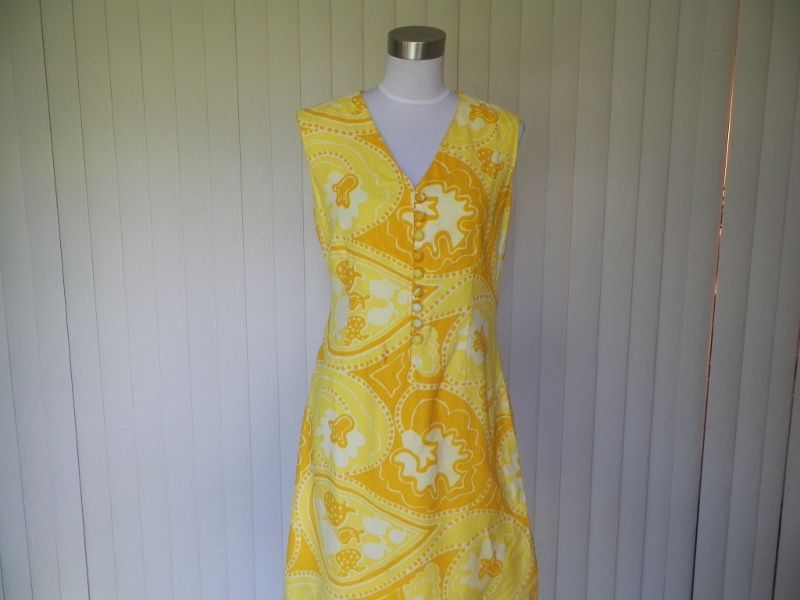 1960s Yellow and Orange Mod Print Shift Dress