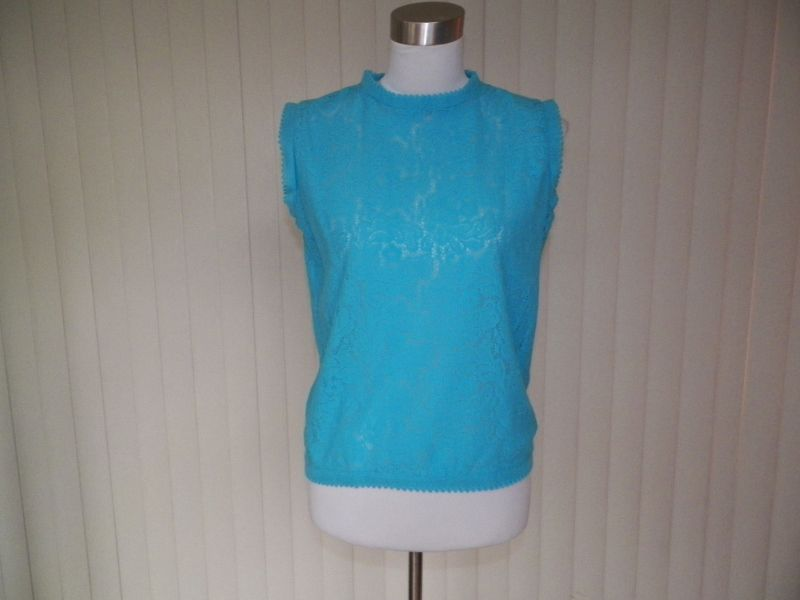1970s Blue Lacy Look Pull Over Blouse