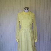 1960s Bright Yellow Chiffon Cocktail Dress - Sylvia Ann