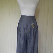 SOLD 1940s / 1950s Wide Leg Denim Look Pants / Slacks-New w/Tags