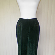1970s Green Velvet Bell Bottom Pants / Slacks