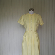 1950s Yellow  Cotton Summer Dress