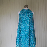 1960s Blue Floral Trapeze Dress