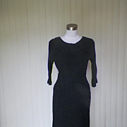 1940s Stretchy Black Wiggle Dress Textured Material - Leslie Pomer