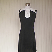 1970s Black & White A-line Polyester Dress