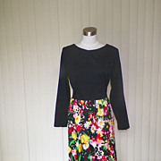 1970s Polyester Black and Floral Dress-Melvine of Miami