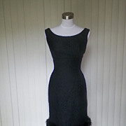 1960s Little Black Wiggle Cocktail Dress
