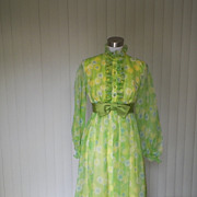 1960s Green & Yellow Floral Prom Gown - Montgomery Ward
