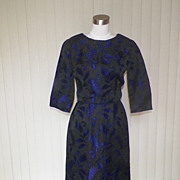 1960s Black & Purple Floral Brocade Dress