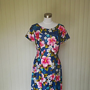 1960 / 1970 Hawaiian Pink & Blue Floral Maxi Dress - Ui Maikai