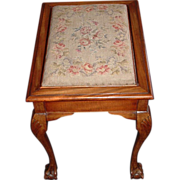SALE Stool: Needlepoint, Mahogany Ball & Claw foot with hidden compartment