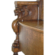 REDUCED Exceptional Oak Bench with Carved Griffins