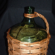 SOLD Wicker Demijohn Wine Bottle