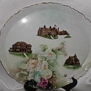 REDUCED HUGE! T & V Limoges Brightside Oval Tray 1895-1907 Peonies Orphanage & Hospital Buildi