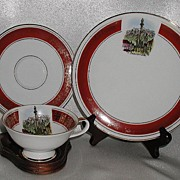 REDUCED Schumann Trio Cup Saucer & Plate Innsbruck Scene Red & Gold Band OLD!
