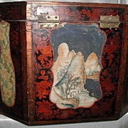 REDUCED Antique Chinese Octagonal Wood Box Hand Painted Scenes Dovetail  Large  Floral Wood