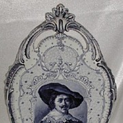 REDUCED Royal Bonn Franz Anton Mehlem Delft Wall Hanging Dutch Franz Hals Portrait Plaque Blue
