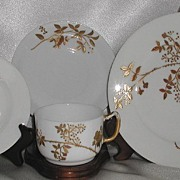 REDUCED A Klingenberg AK Limoges France 4 Pc Breakfast Snack Dessert Set Heavy Floral Gold Bea