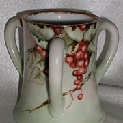 T & V Limoges France Three Handle Loving Cup Vase Red Grapes Artist Signed Tressemann & Vogt