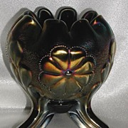 REDUCED Northwood Carnival Glass Daisy & Plume Rose Bowl Amethyst Rayed Interior Footed 3 Feet