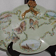 REDUCED Unbelievable William Guerin Limoges France Split Center Handle Tray Hand Painted Butte