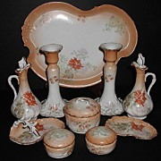 AT AUCTION Large Stunning William Guerin Limoges France 10 Pc Salmon Colored Dahlia Dresser Se