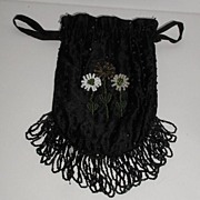 REDUCED Vintage Black Floral Beaded Drawstring Purse Beaded Tassels Amber Green & White Beaded