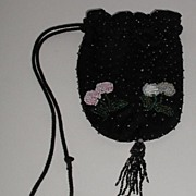REDUCED Vintage Beaded Drawstring Black Fabric Purse Floral Pink White Blue Green Beads