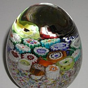 REDUCED Large Vibrantly Colorful Millefiori Cane Glass Paperweight