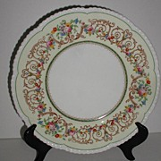REDUCED Cauldon England Floral Dinner Plate Scrolls Pale Yellow Rim Beaded Scalloped V8087 Pat
