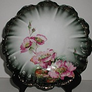 REDUCED Rosenthal Bavaria Pink Poppy Footed Bowl Green Gold Scalloped Rim