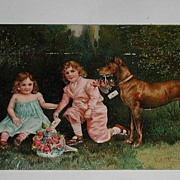 REDUCED Vintage 1909 Great Dane & Two Children Hearty Congratulations Embossed Post Card ...