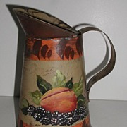 REDUCED Vintage Tole Ware Toleware Hand Painted Peach & Blackberries Pitcher Creamer