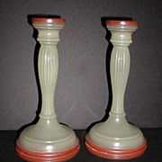 REDUCED Pair Opaque Glass Candlestick Holders Tapered Fluted Custard Colored Red Candle Holder