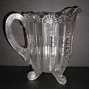 "REDUCED Northwood Glass Co. EAPG 1800s Clear Fluted Scrolls Pitcher 7.75"" Footed Scrolled"