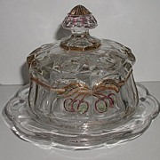REDUCED Northwood Glass EAPG Cherry & Cable Butter Dish Gold Ruby Flashing