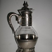 REDUCED Ornate Silverplate & Glass Footed Coffee Carafe & Warmer