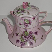 REDUCED Extremely Lovely Stackable Personal Teapot Cup Cover Hand Painted Violets Gold Floral