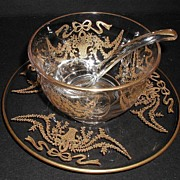 REDUCED Superb Heavy Gold Overlay 3 Pc Glass Mayo Set Basket & Garlands Design