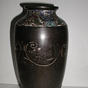 "REDUCED Very Old & Scarce Oriental Cloisonne Vase Etched Birds 12"" Heavy"