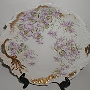 REDUCED M Redon Limoges France 1893 Cake Plate Purple Violets Scalloped Embossed Gold Overlay