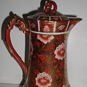 Stunning Oriental Porcelain Chocolate Pot Burnt Orange Gold Scrolls