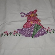REDUCED Exquisite Embroidered Pillowcase Victorian Woman Lady With Gown Hat Umbrella & Flowers