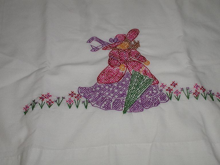 Exquisite Embroidered Pillowcase Victorian Woman Lady With Gown Hat Umbrella & Flowers