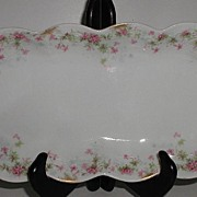 REDUCED Jean Pouyat French Limoges JPL Celery Dish Pink Flowers Embossing Scalloped Brushed Go