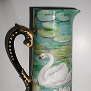 AT AUCTION Stunning Extremely Uncommon Delinieres & Co, D & C French Limoges Hand Painted Swan